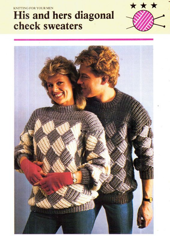Genuine Vintage His and Her DIAGONAL Check Sweaters in a Highly ...