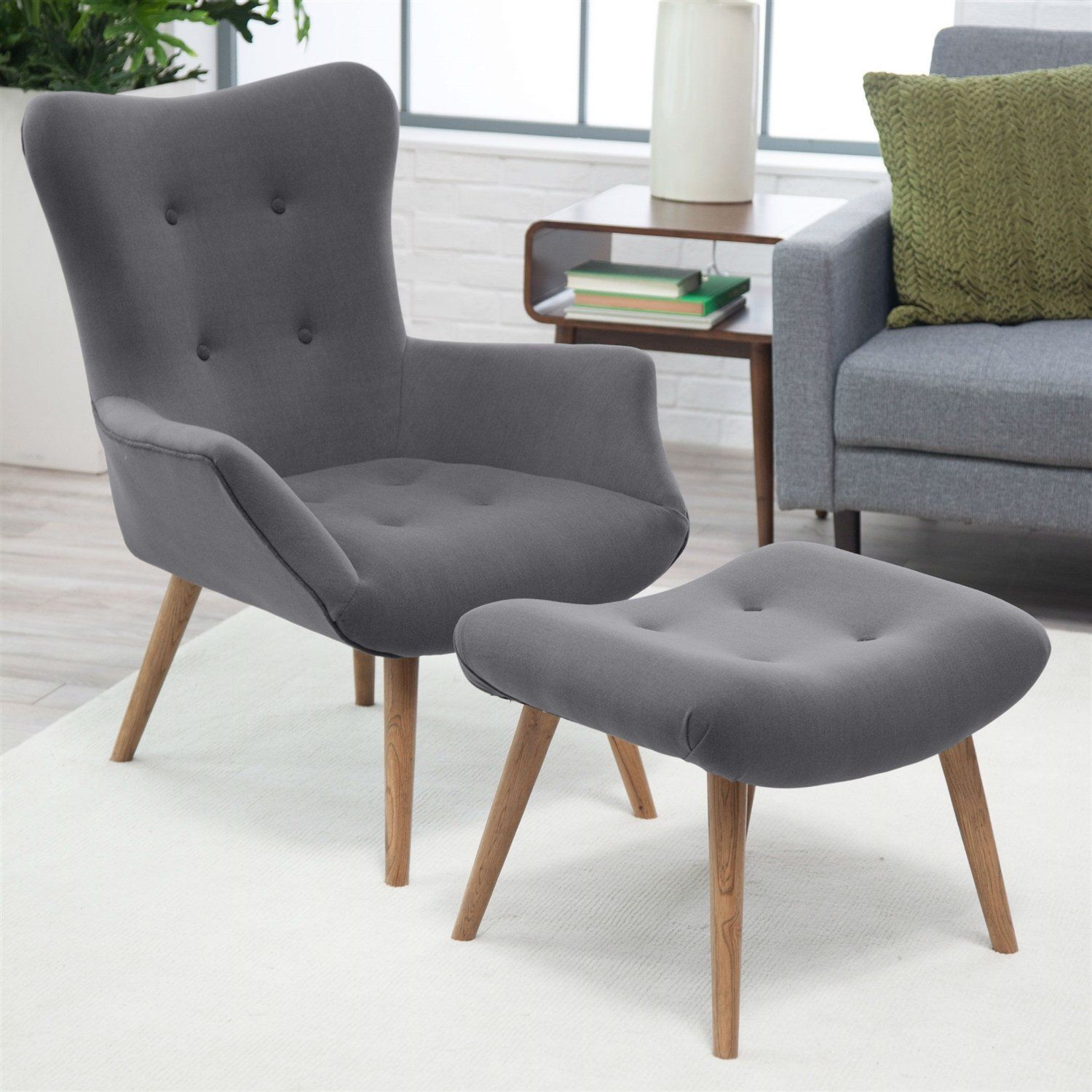 Modern Classic MidCentury Style Gray Accent Chair and