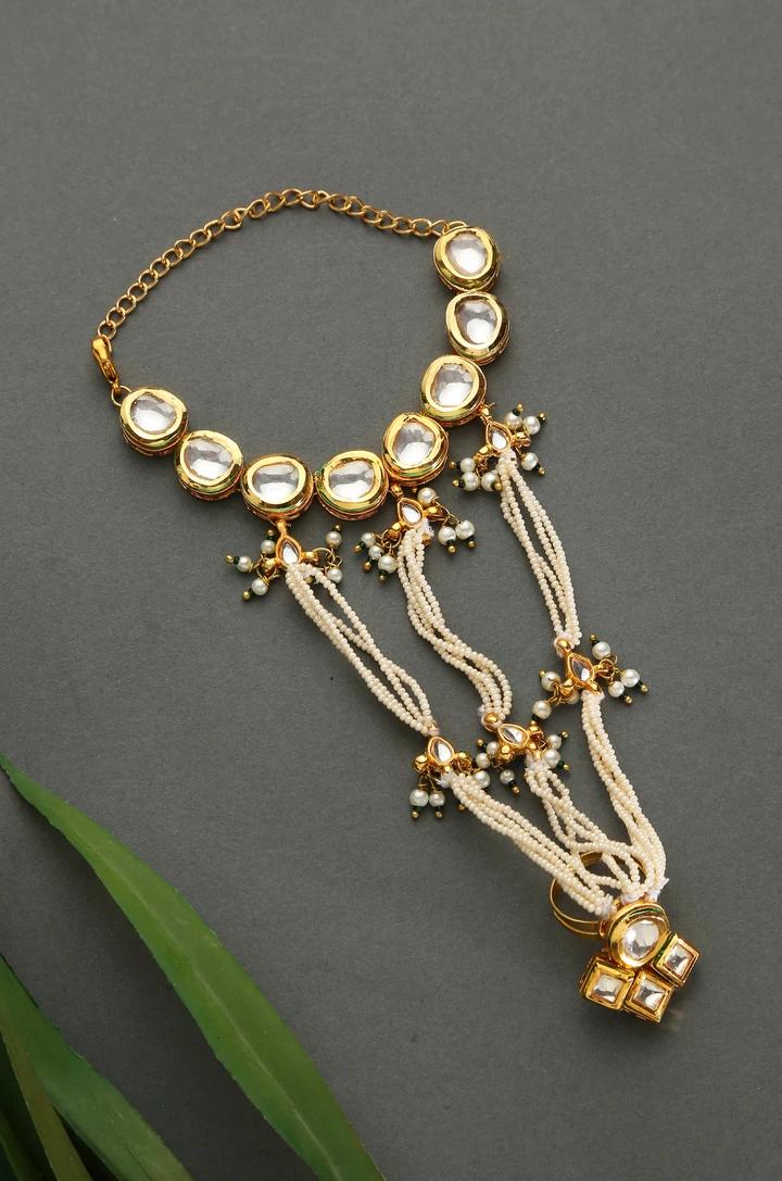 Kundan Turquoise Hathphool Gold Tone Kundan Inspired Hathphool Turquoise Hathphool Kundan Hathphool Indian Jewellery