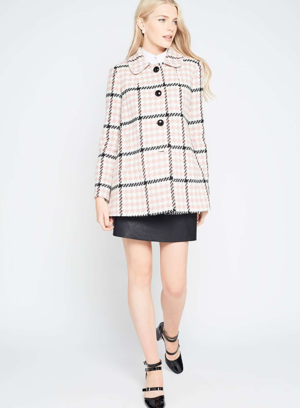 Pink Check Button Through Coat | Jackets and Coats | Pinterest