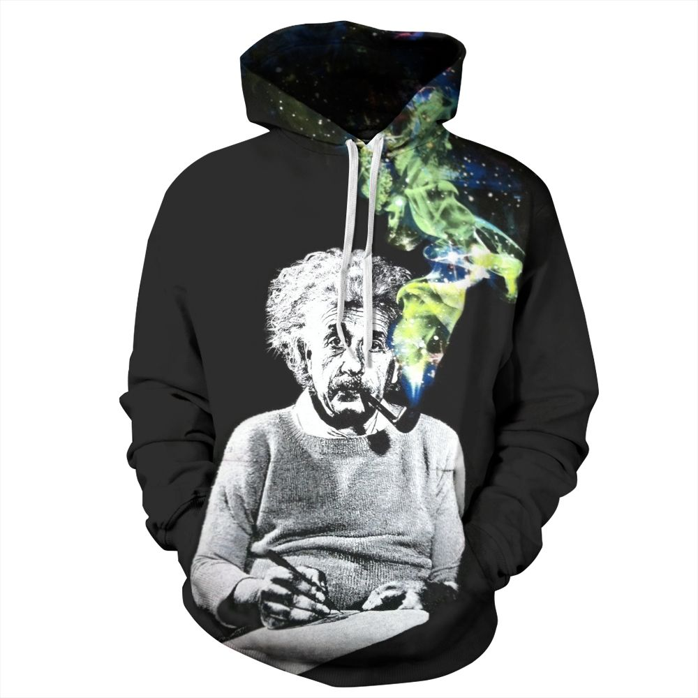 New 2017 Fashion Women/men Unisex 3D Hoodies Sweatshirt Funny Einstein  Smoking Printed Hoody Street