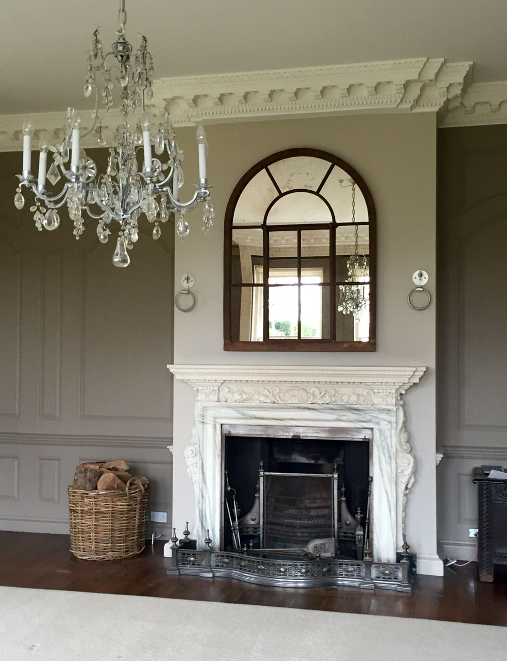 Over Mantle Display Of This Full Arch Rustic Window Mirror