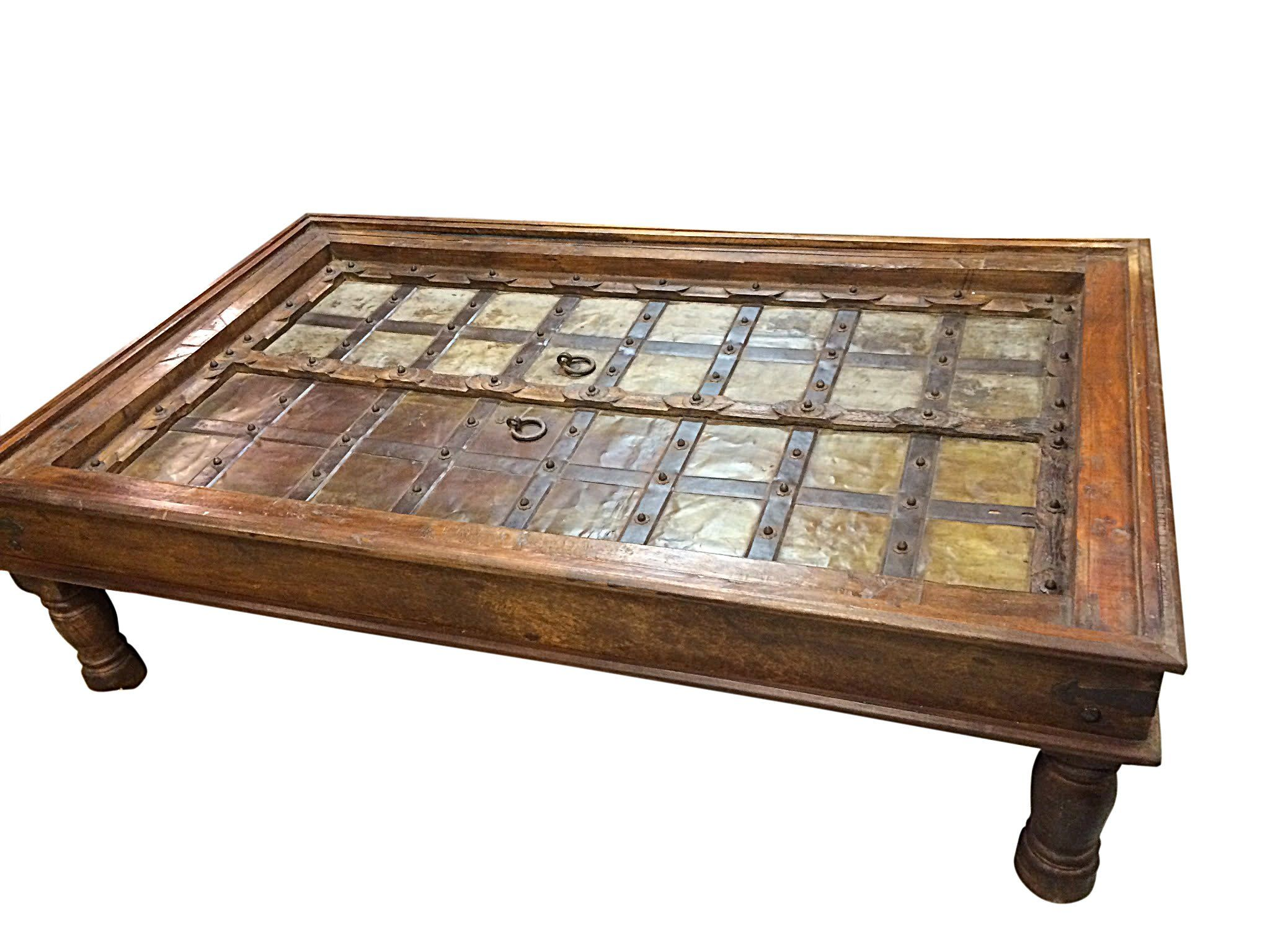 Antique coffee table indian furniture handmade wood for Indian coffee table