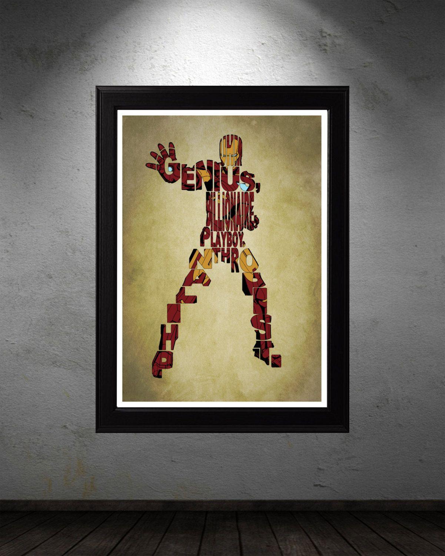 Iron Man Poster - Minimalist Typography Poster Movie Poster Art ...