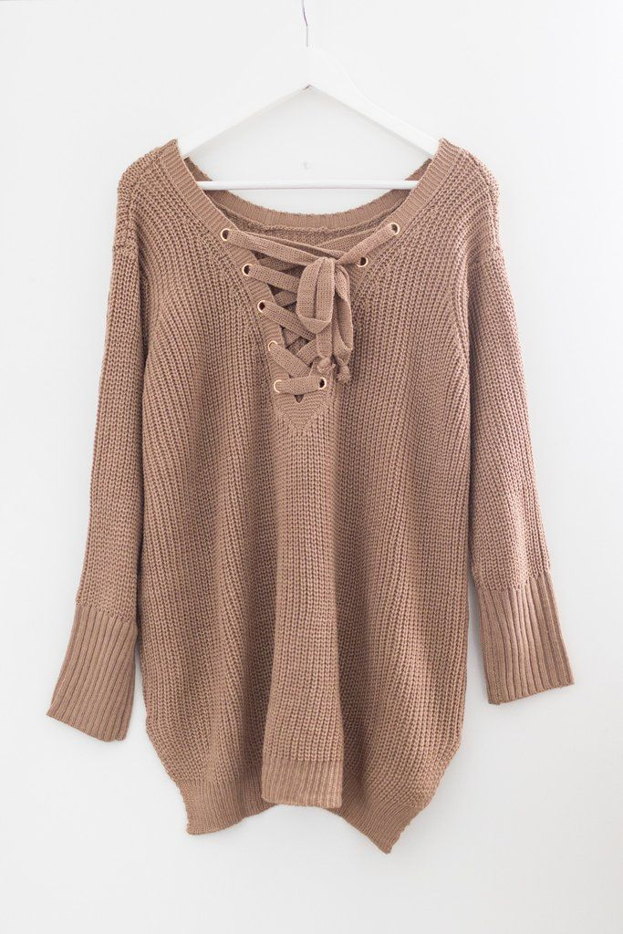 b3fa1826eb Blush pink knitted sweater Long sleeves Lace-up and bow-tie detailing in  back Oversized fit High-low bottom Size small length measures approx.