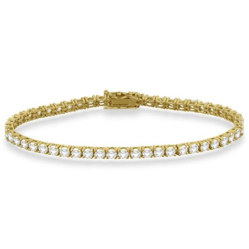 Allurez – Femmes – Tennis-bracelets – Or jaune 585/1000 (14 carats) 8.1 gr – Rond Diamant Blanc 5.51ct | Your #1 Source for Jewelry and Accessories