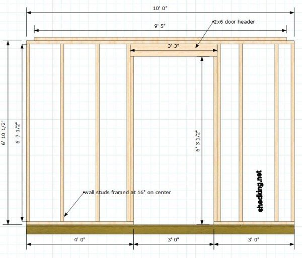 framing for a shed wall with a door