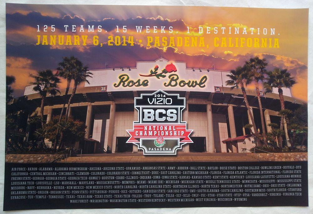 2014 BCS NATIONAL CHAMPIONSHIP FLORIDA ST. VS AUBURN POSTER PASADENA, CA  #RoseBowl #Pasadena #BCS #FSU #Auburn
