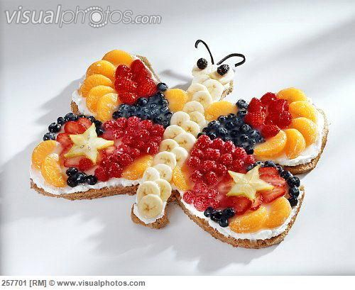Fruit cake in shape of a butterfly for childs birthday 257701