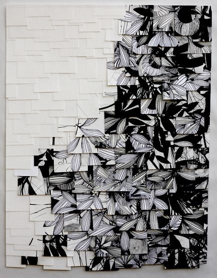 """Untitled  2010  charcoal on sewn paper  46 x 35"""""""