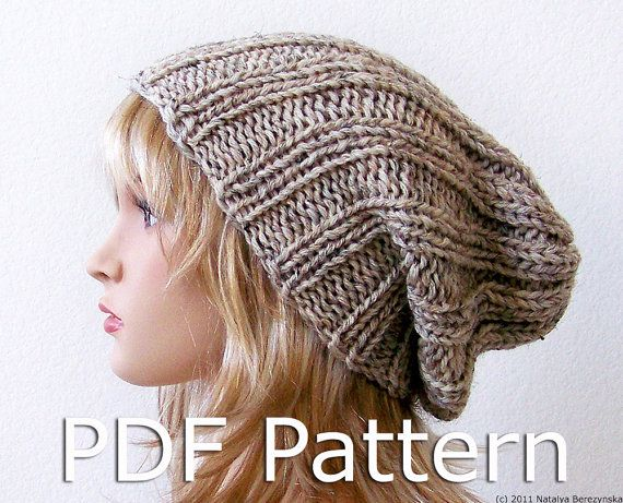Knitting Pattern Slouchy Beanie Pattern Knit Hat Pattern Pdf