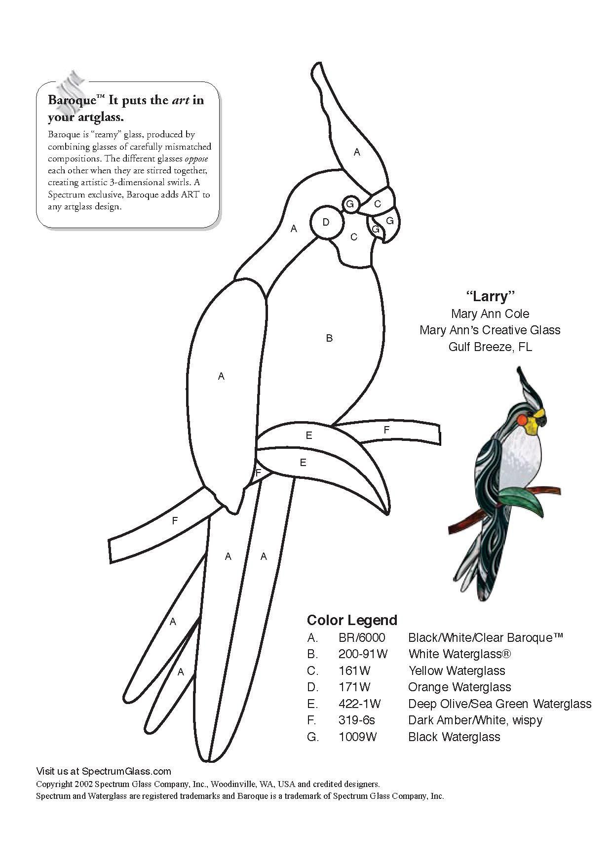 Patron Pour Vitrail Perroquet Vitrail Tiffany Glas In Lood Vogels Vogel Sjabloon Patronen