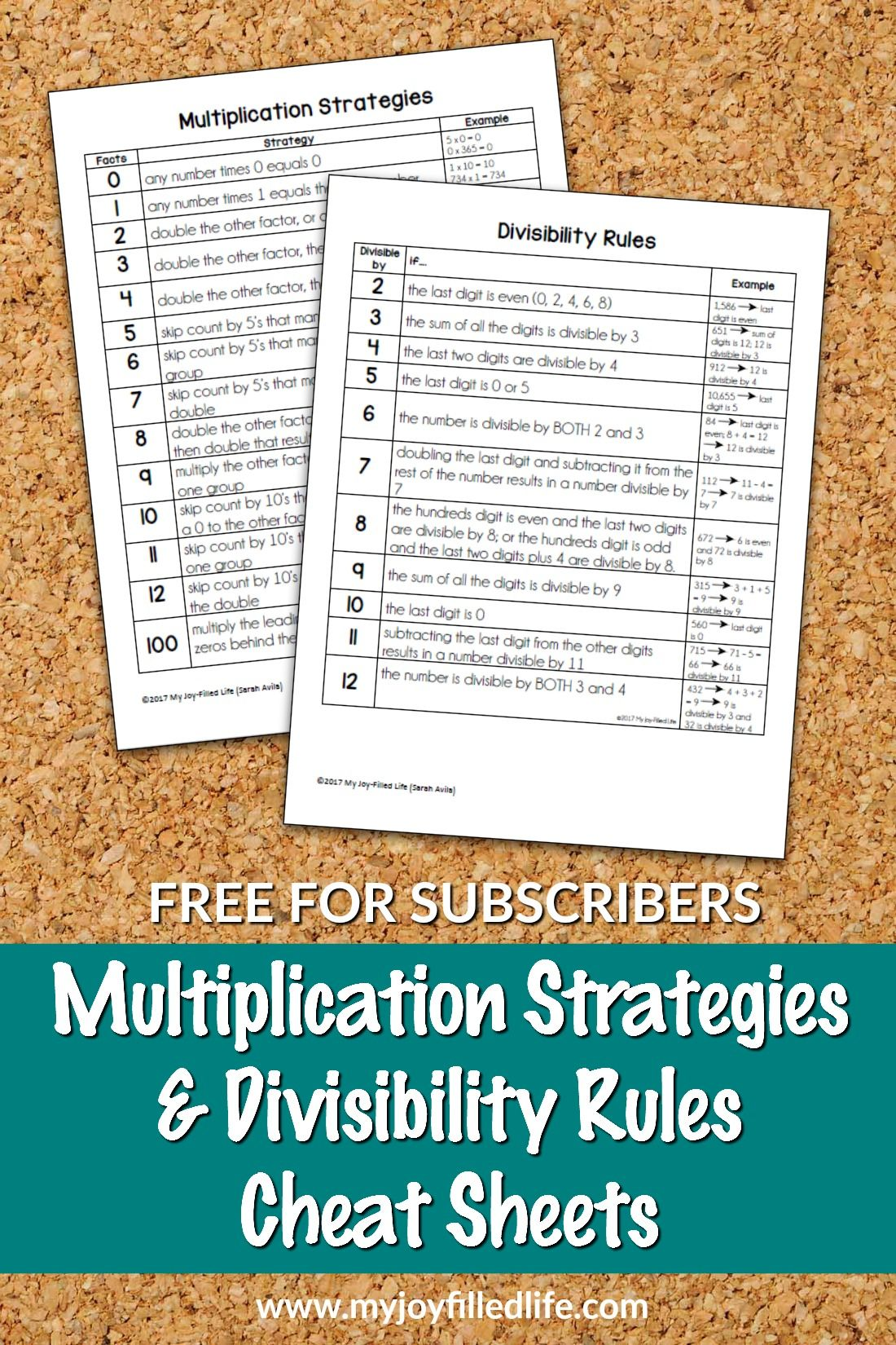 Multiplication Strategies Amp Divisibility Rules Cheat