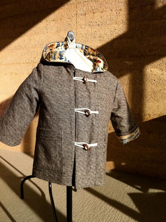 """Oliver and s """"School Days"""" hooded toggle jacket coat in chocolate wool blend with Little Toot cotton lining. Size 18 - 24m... $120.00, via Etsy."""
