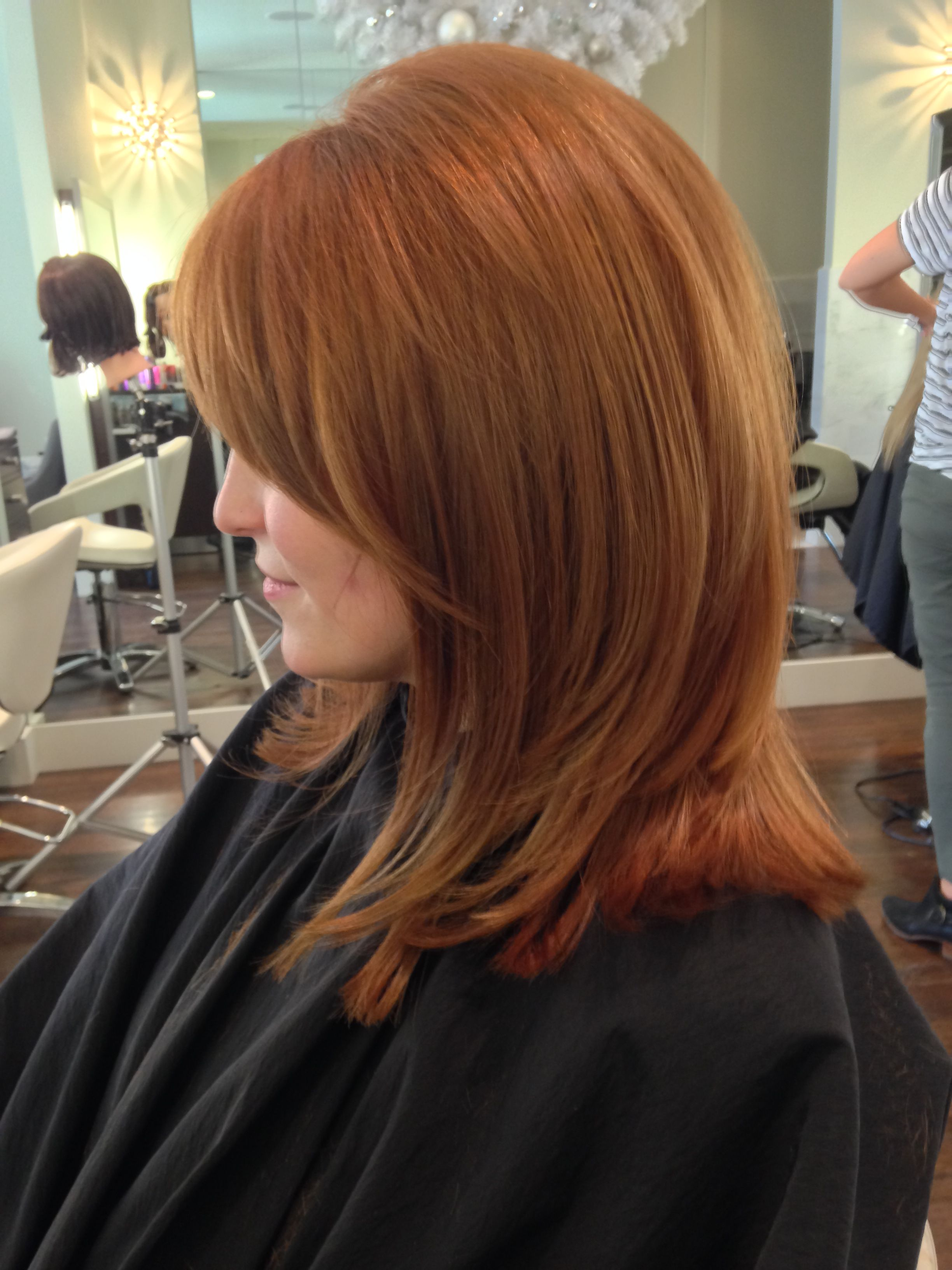 Color Medium Golden Auburn Color With Golden Balayage Highlights
