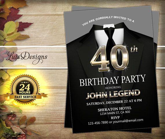 Surprise 40th birthday invitation. Tuxedo Adult man ...