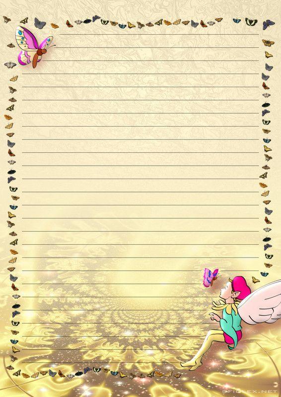 Préférence papier à lettre a imprimer - fond beige - elfe et papillon  VV99