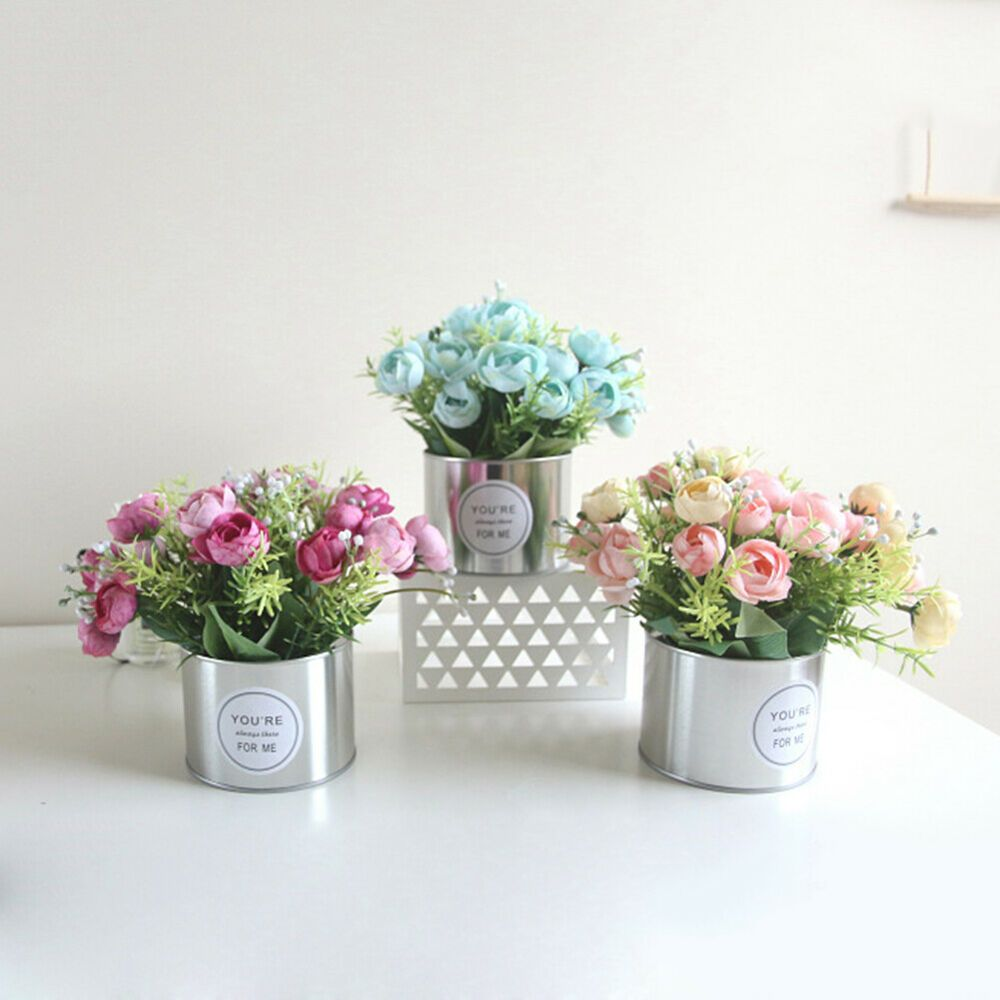 1pc Artificial Flower Rose Iron Pot Bonsai Living Room Home Party