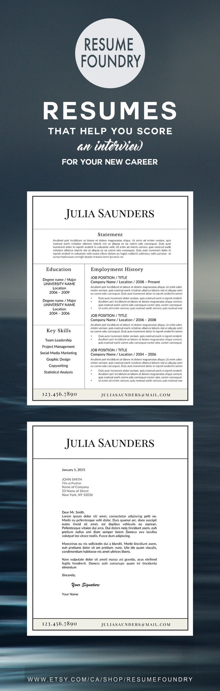 Classic Resume Template for Word, 13 Page Resume + Cover
