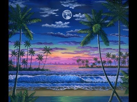 How To Paint The Moon At Sunset Complete Painting Class Seascape Beach Drawing Sunset Painting Beach Painting Tropical Beach Painting