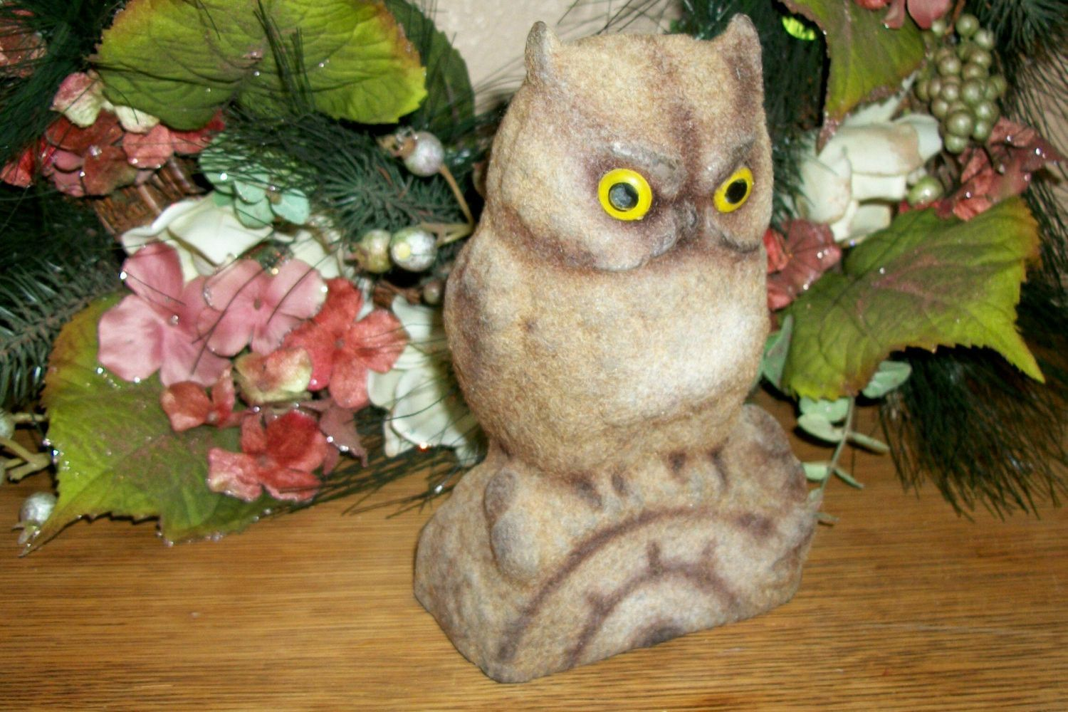 Flocked Plastic Brown Owl Figurine Coin Bank Vintage 1960's Collectible Bird Statuette Woodland Home Decor