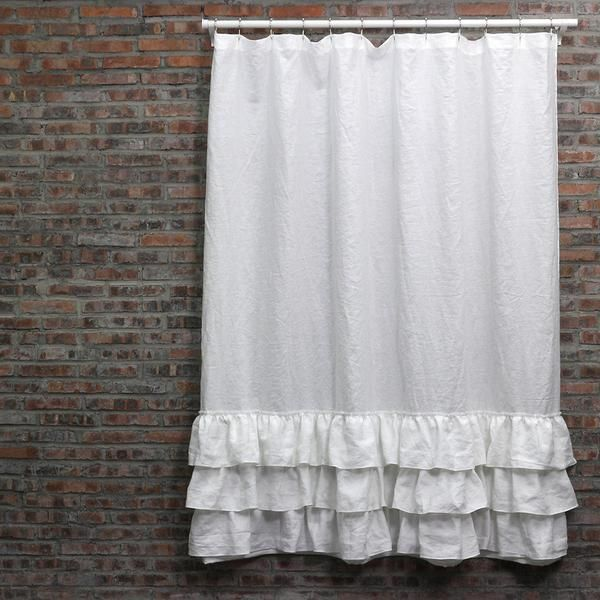Linen Ruffles Shower Curtain Ruffle Shower Curtains Curtains Shower Curtain