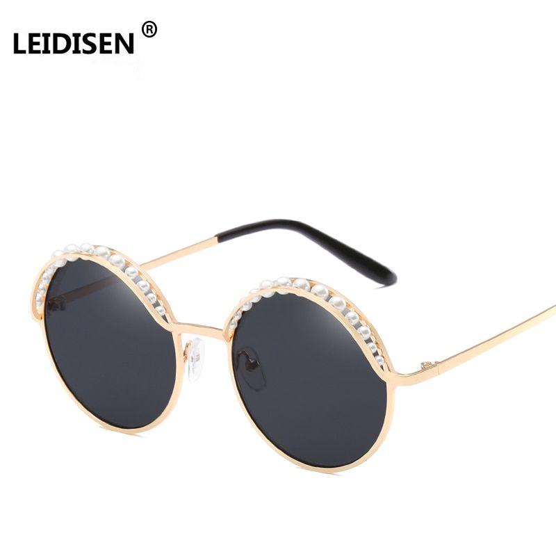 2089b93f4df LEIDISEN Brand Designer Round Sunglasses Women Pink Gold Fashion With Pearl  Sun Glasses For Women 2018