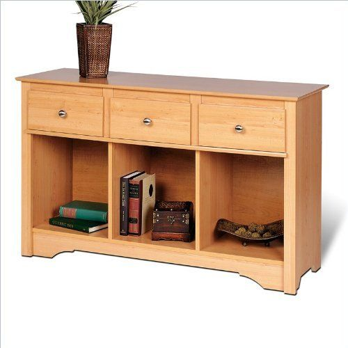 Sonoma Maple Finish Sideboard Buffet Console Sofa Table by Prepac. $203.38. Some assembly may be required. Please see product details.. The perfect addition to a living room or den, this unit incorporates three drawers for lots of storage, and at 16 inches deep, is a great depth for decorative dishes, books and baskets. Features include a profiled top, side moldings and an arched kick plate, as well as solid brushed nickel knobs and a drawer that run on smooth, a...