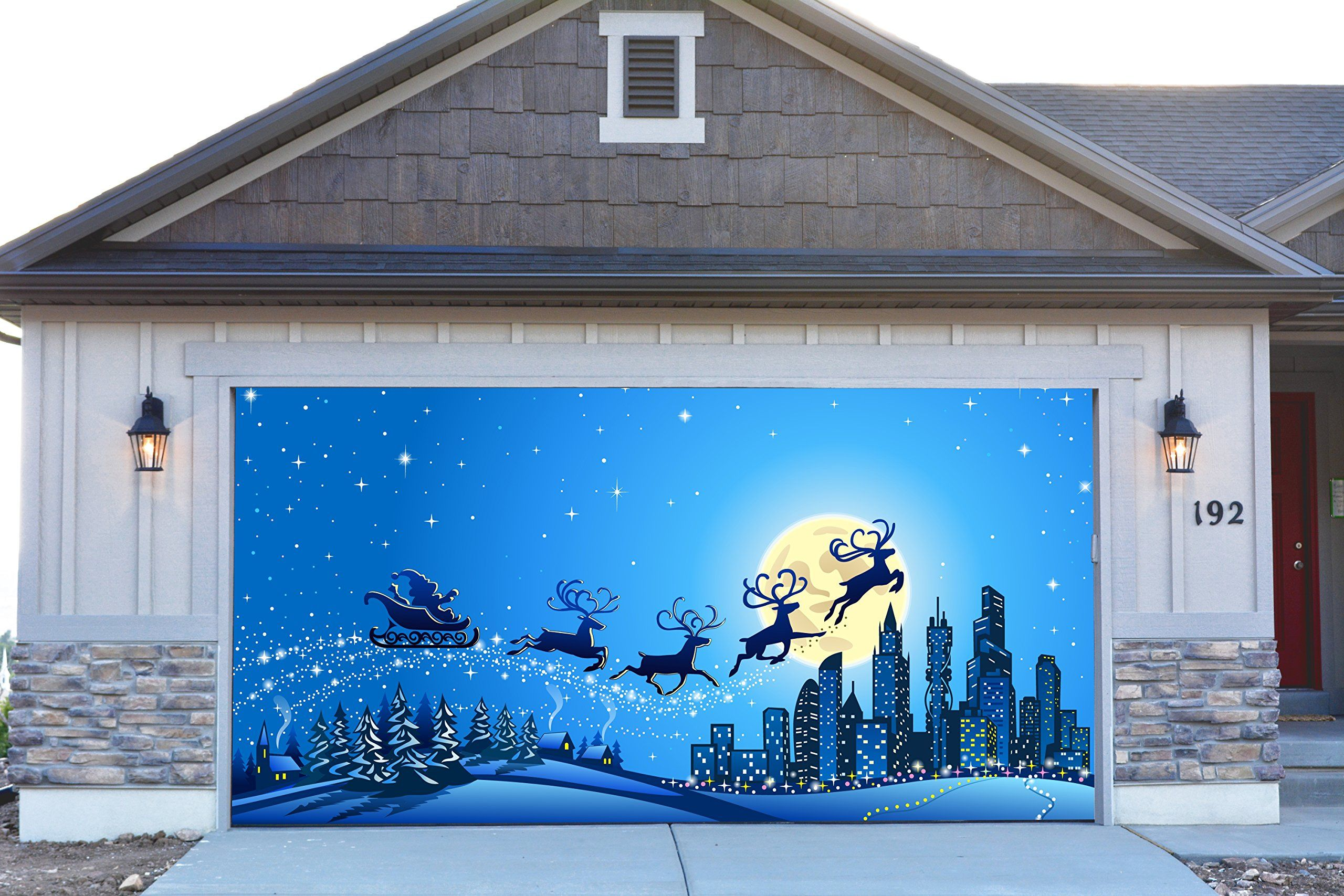 Garage door christmas decorations - 3d Garage Door Covers Christmas Decorations Outdoor Wall Banners Outside Home Decor Santa Claus Stickers Gd24