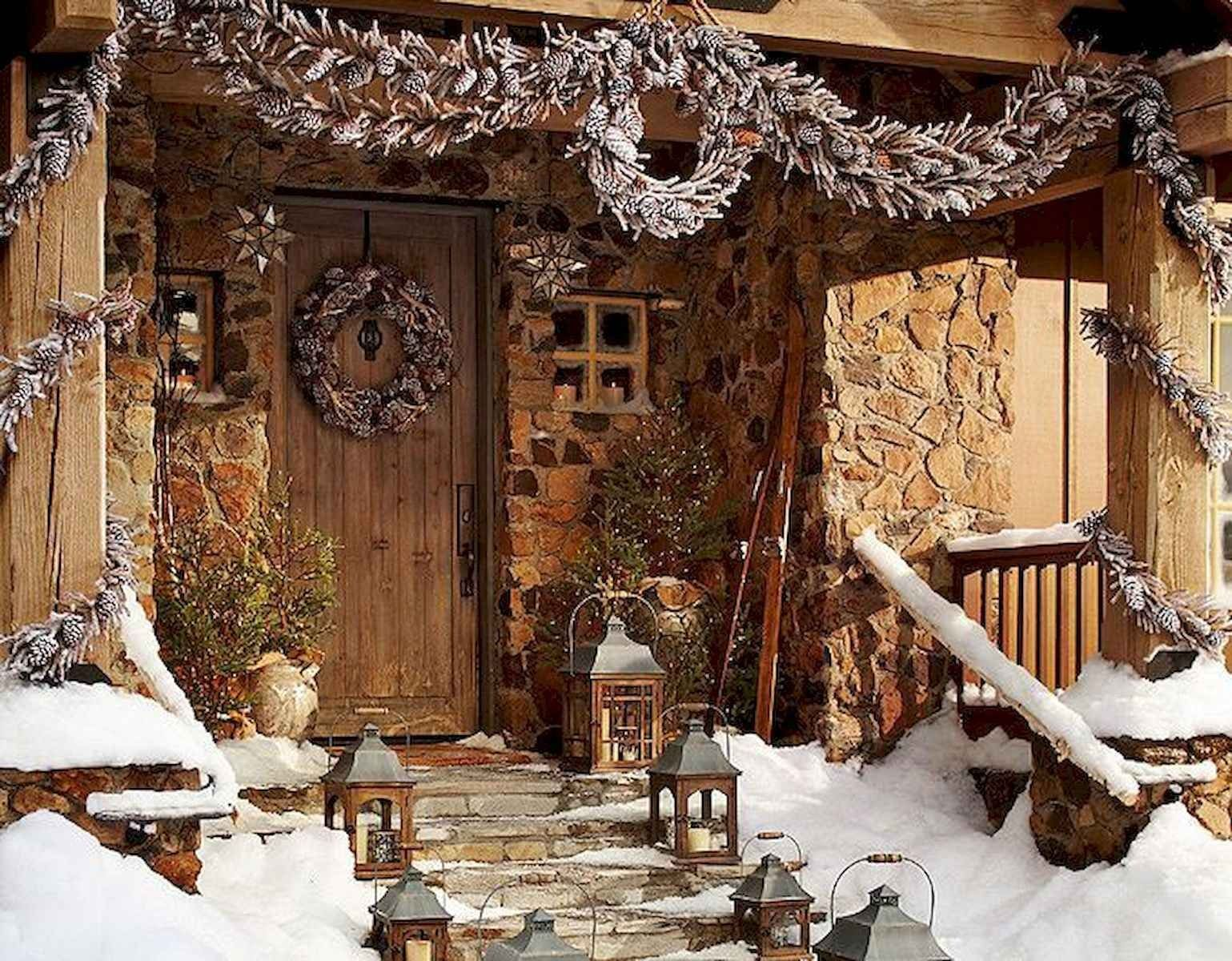 50 Awesome Outdoor Christmas Decor Ideas And Makeover Outdoor Christmas Christmas Front Porch Front Porch Christmas Decor
