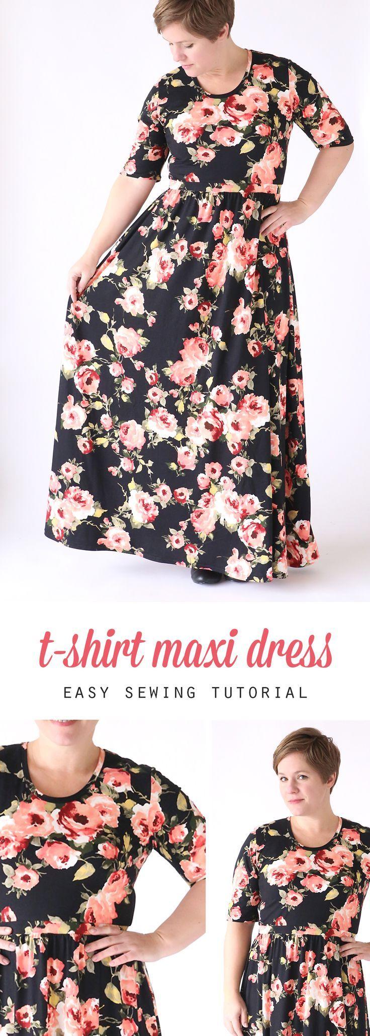 the classic tee maxi dress | Maxi dresses, Tee shirt and Tutorials