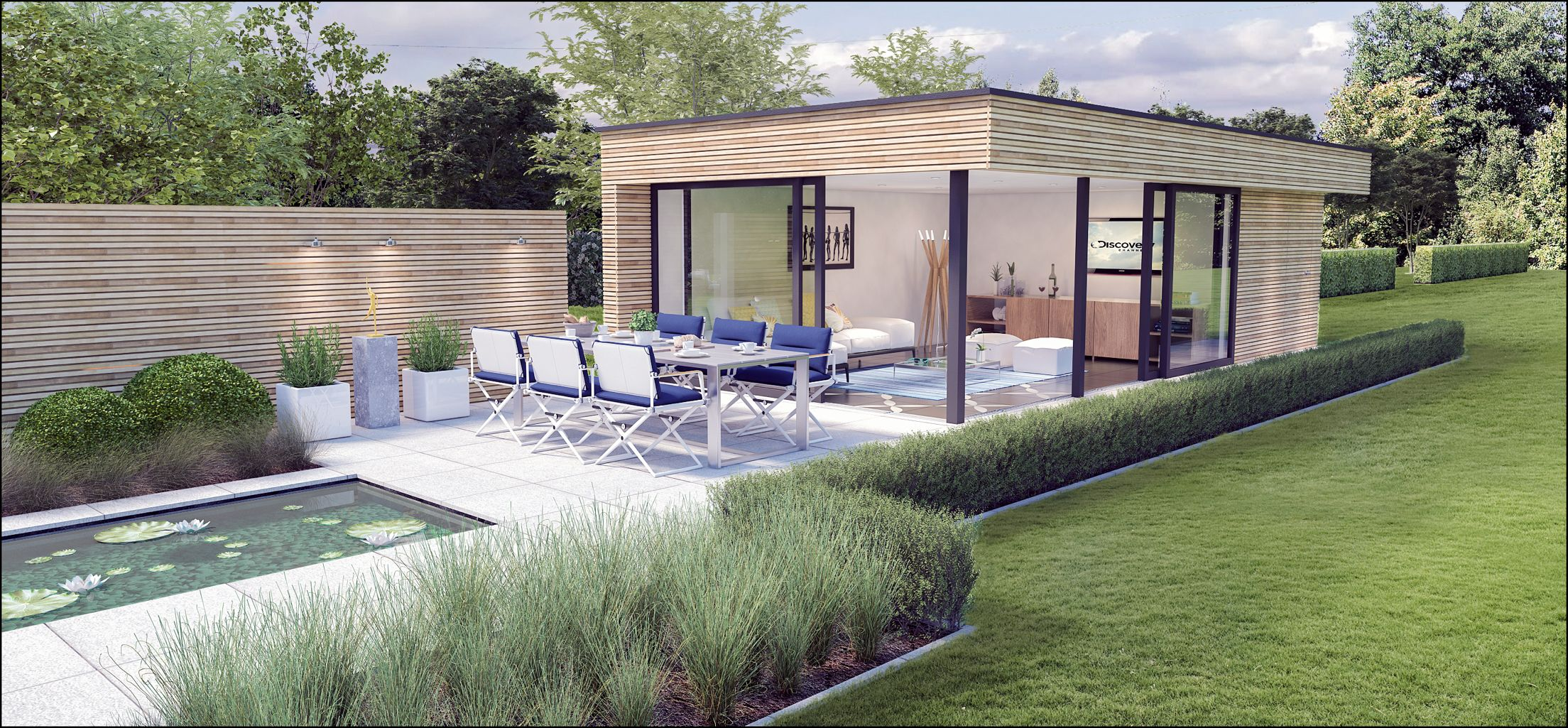 Tuinontwerp timothy cools tuinarchitectengroep eco poolhouse moderne tuin tuinontwerp for Tuin modern design