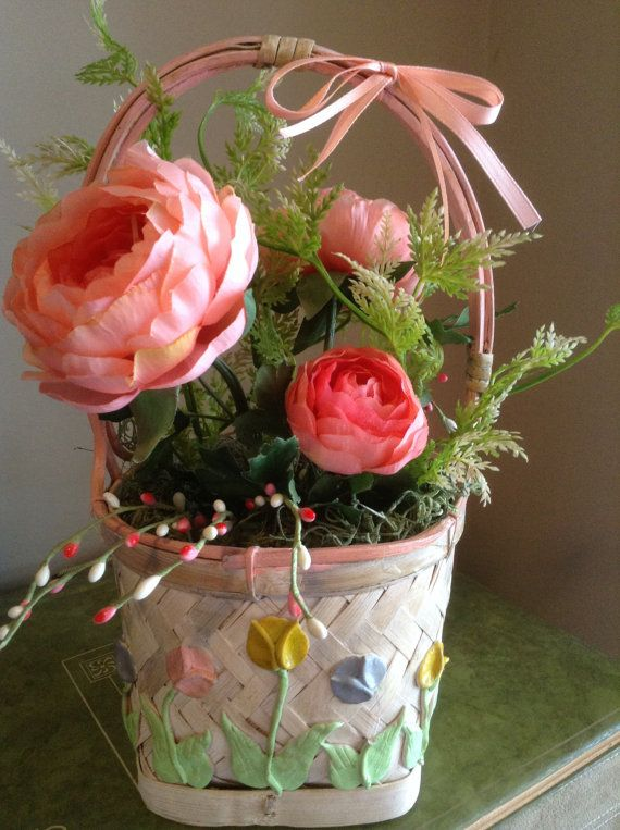 Floral Basket Arrangement Easter Flower By NauticoCreations