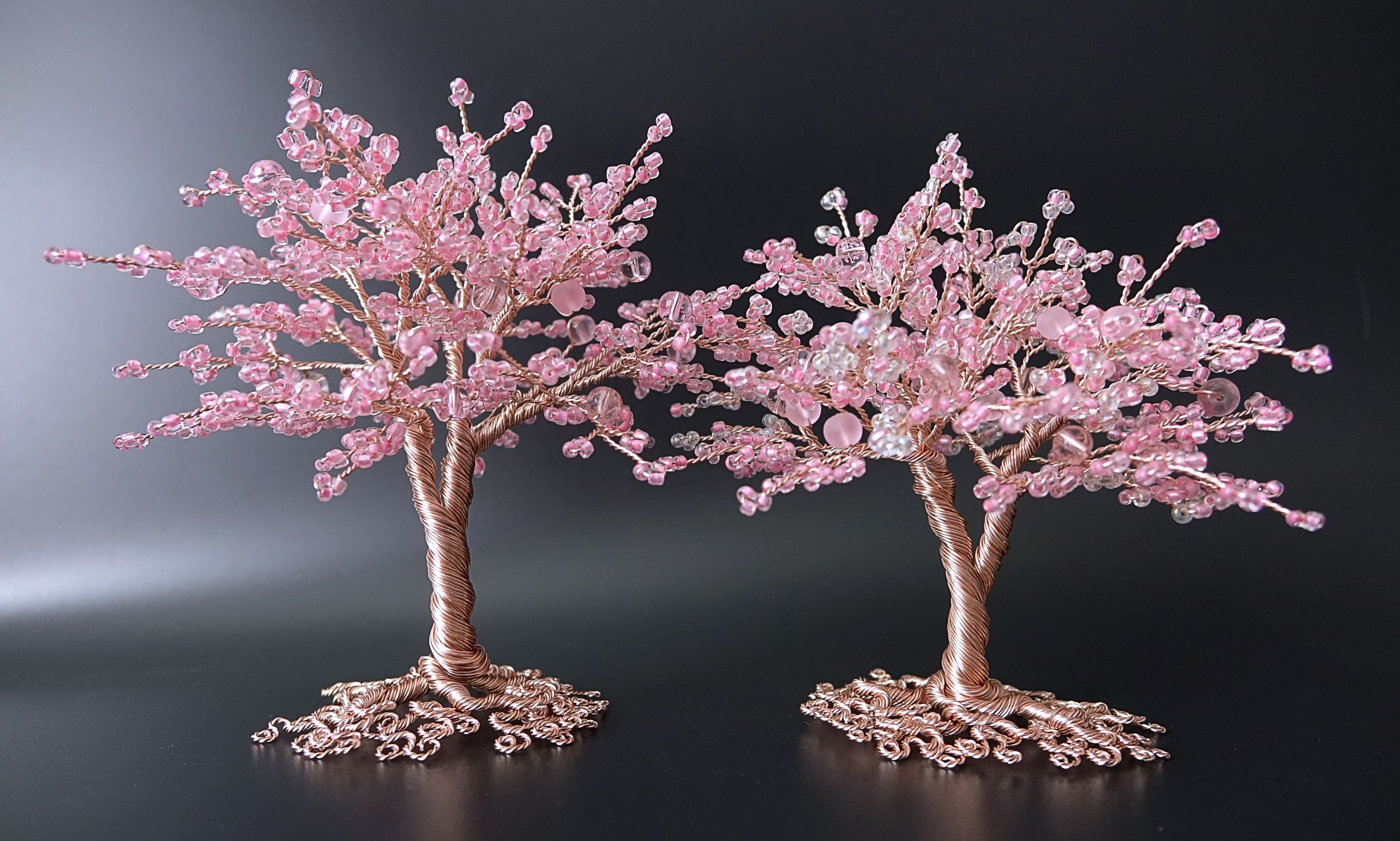 Pink Blossom Trees By Twysted Roots Two Pink Bead And Rose Gold Coloured Copper Wire Tree Sculptures Wire Tree Sculpture Wire Tree Wire Trees
