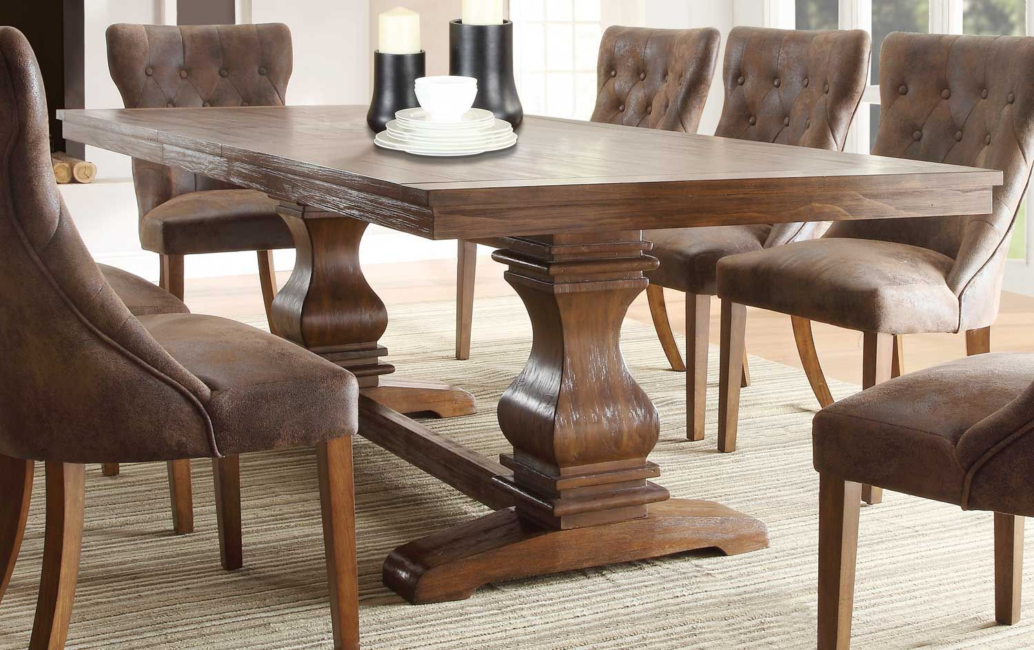 Homelegance marie louise dining table rustic oak brown