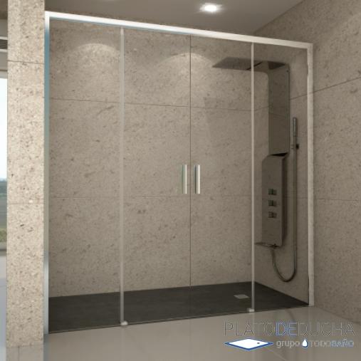 Mampara de ducha riau ii con dos puertas correderas al for Mamparas de vidrio templado para banos