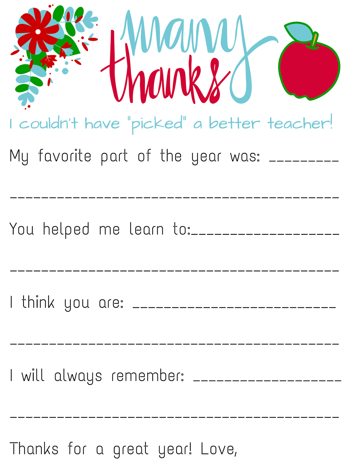 Savvy Spending Free Teacher Appreciation Personalized