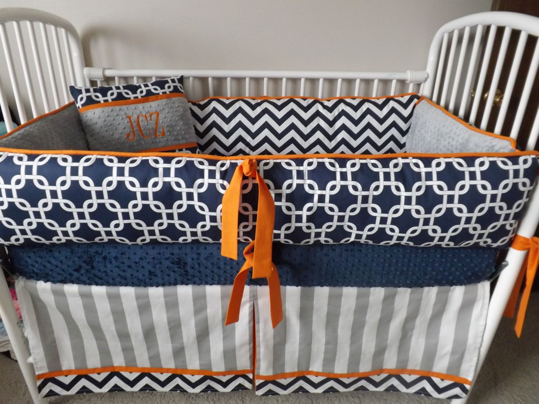 Navy Chevron And Gray And Orange Baby Bedding Crib By Abusymother 50 00 Baby Bed Chevron Baby Bedding Crib
