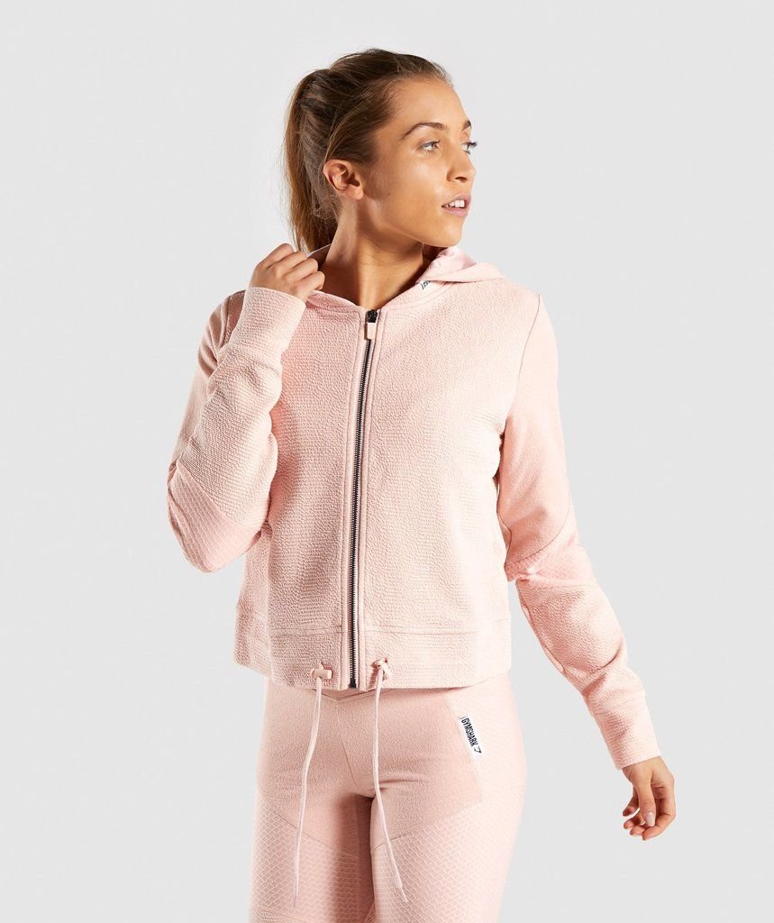 39a810615 Gymshark True Texture Hooded Bomber Jacket - Blush Nude in 2019 ...
