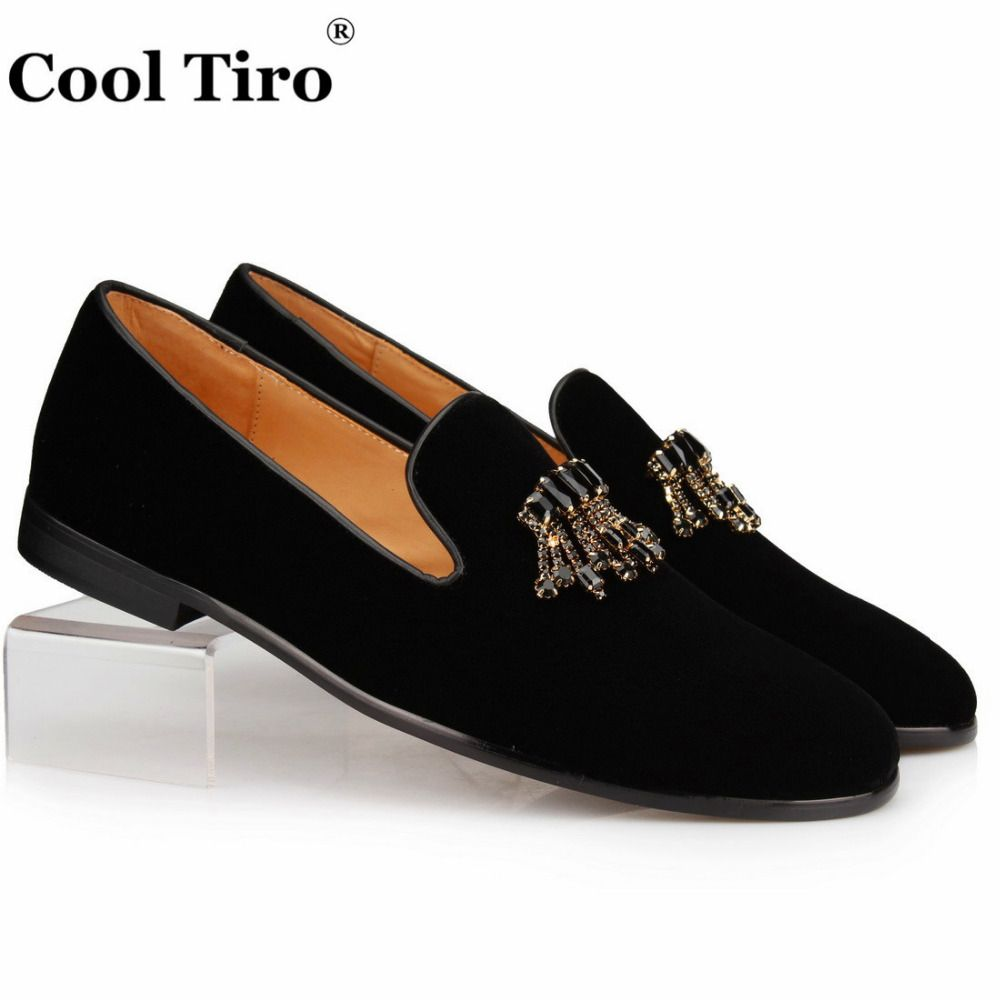 3958f8063 Cool Tiro Black Velour Slippers Velvet Loafers Men Dress Shoes Men's Slip  on Shoes Leather Crystal Brooch Tassels Moccasin Flats(China)