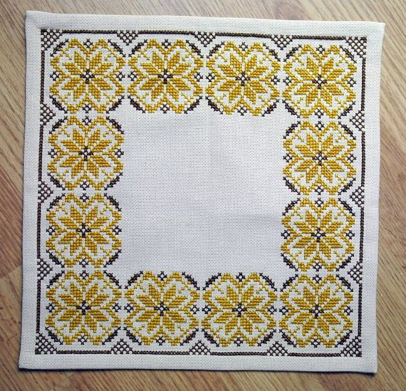 Very well done vintage 1960s handmade cross-stitch embroidery tablet ...