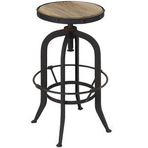 Add An Industrial Chic Touch To Your Pub Table Or Kitchen Counter With This  Wood And Steel Barstool, Featuring An Adjustable Design And Rivet Details.