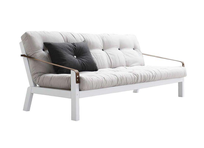 Canapé convertible futon beige Strap prix promo Canapé AchatDesign