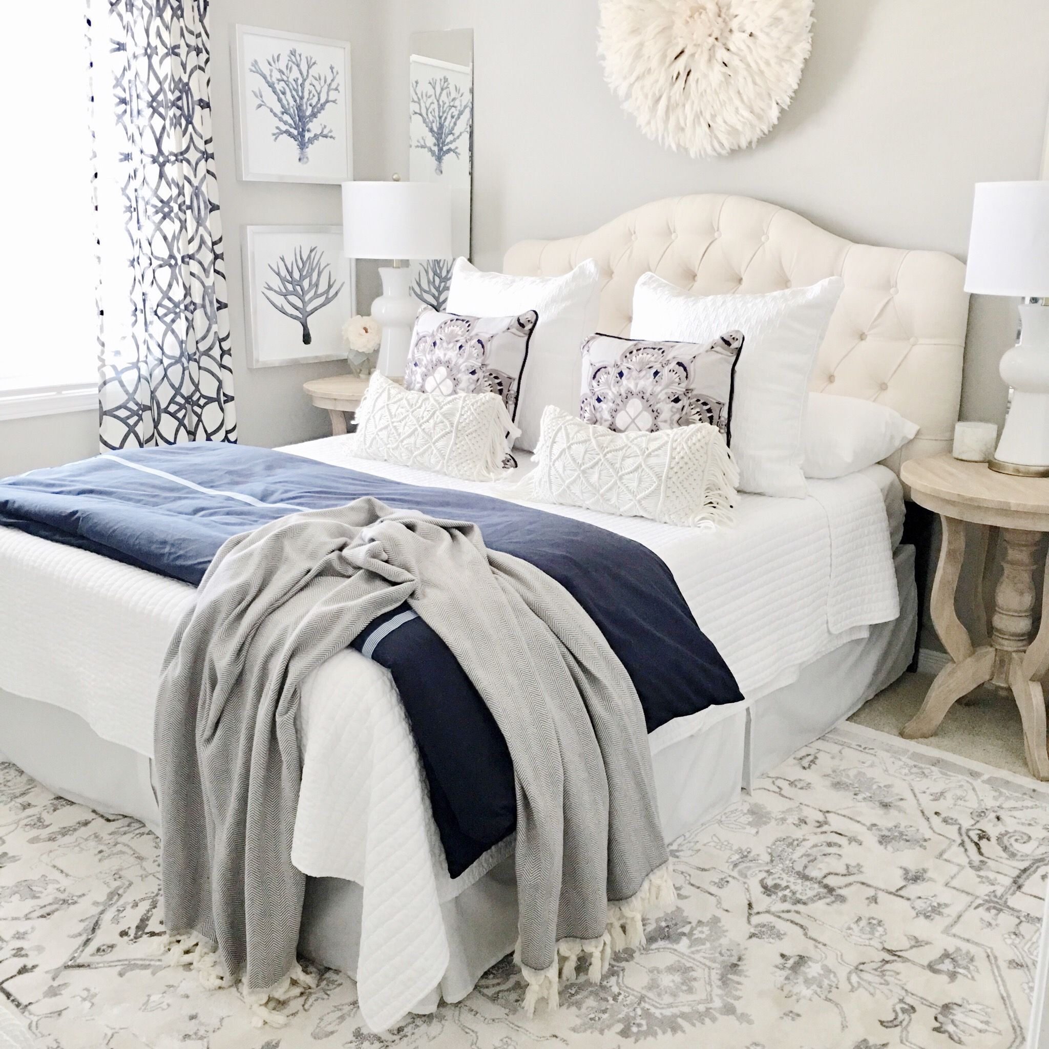 How To Decorate With Pantone Color Of The Year 2020 Classic Blue In 2020 White Bedroom Decor Stylish Bedroom Bedroom Decor