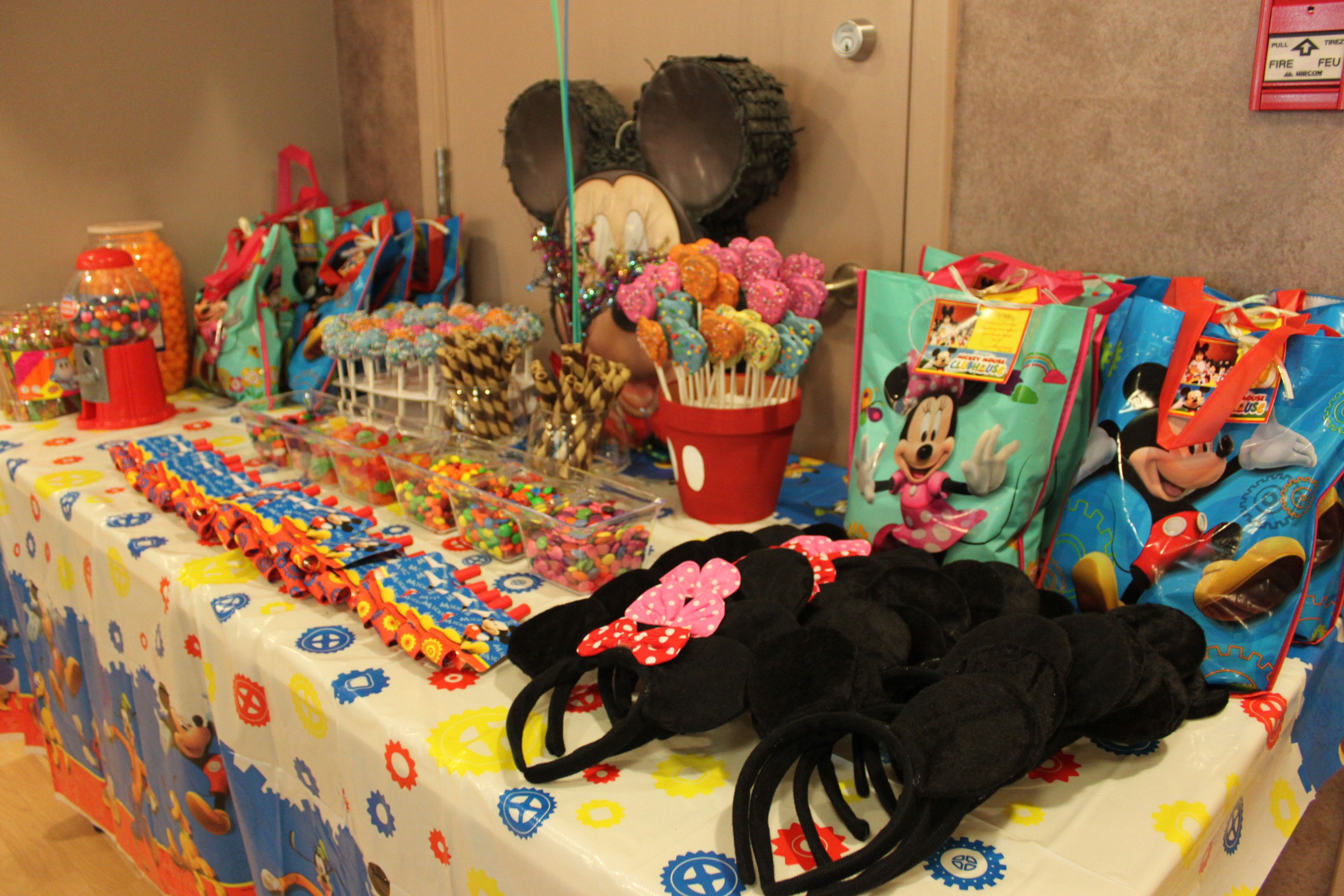 candy buffet with mickey mouse theme