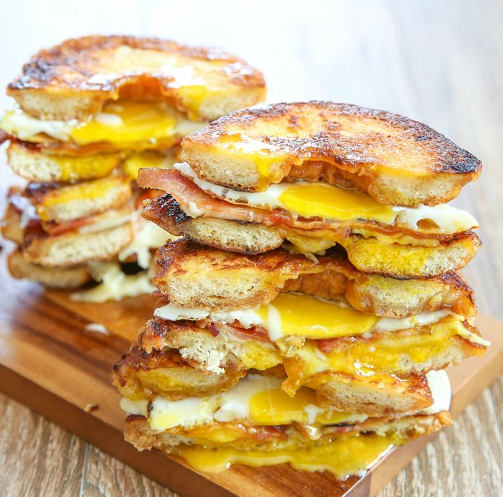 Grilled Cheese Donut Breakfast Sandwiches