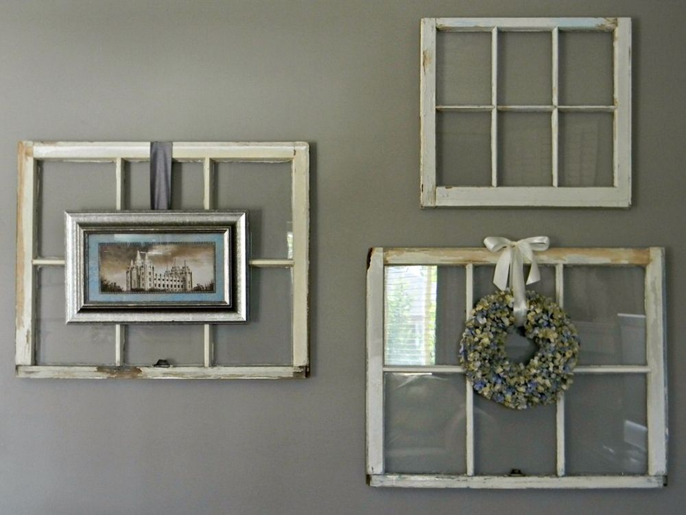 Decorative Wall Decor Ideas For Old Window Panes From Wood With Photo And Small Bouquet Placed On Old Old Window Decor Window Wall Decor Old Window Projects