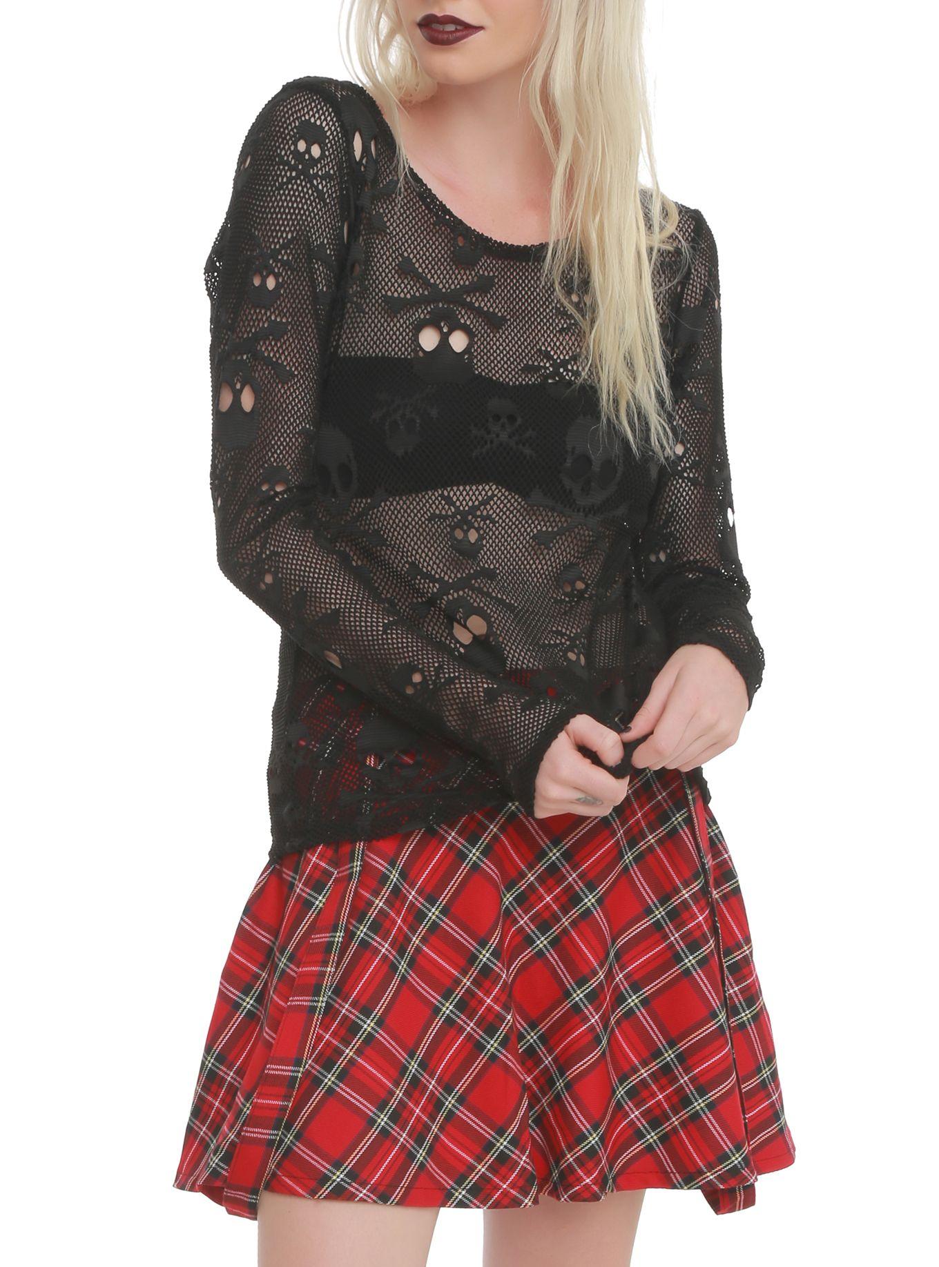 7cd9073090 Royal Bones By Tripp Skull Mesh Top   Gothic Clothing for Women ...