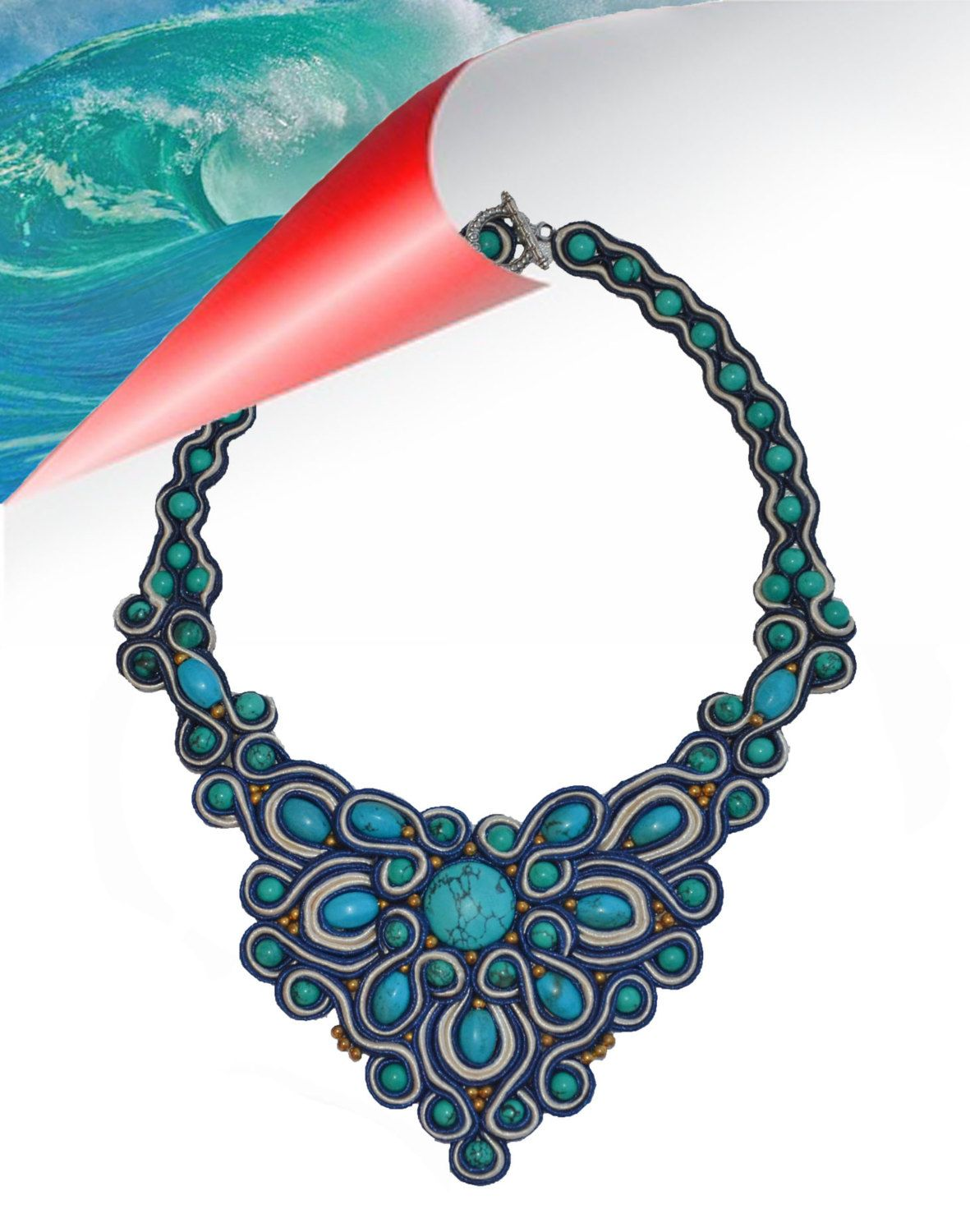 Necklace «Turquoise waves» by MilonaSoutache on Etsy