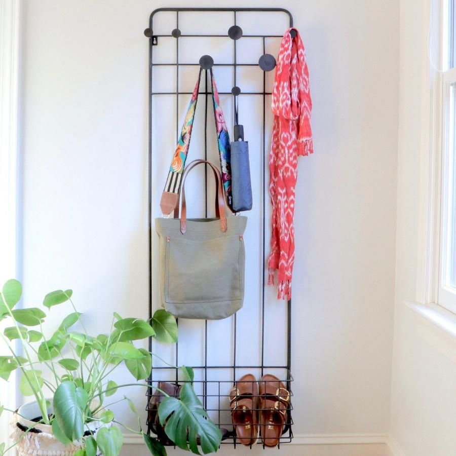 Coat Hat Rack With Bamboo Shelf Wall Mounted Industrial Vintage Style UK